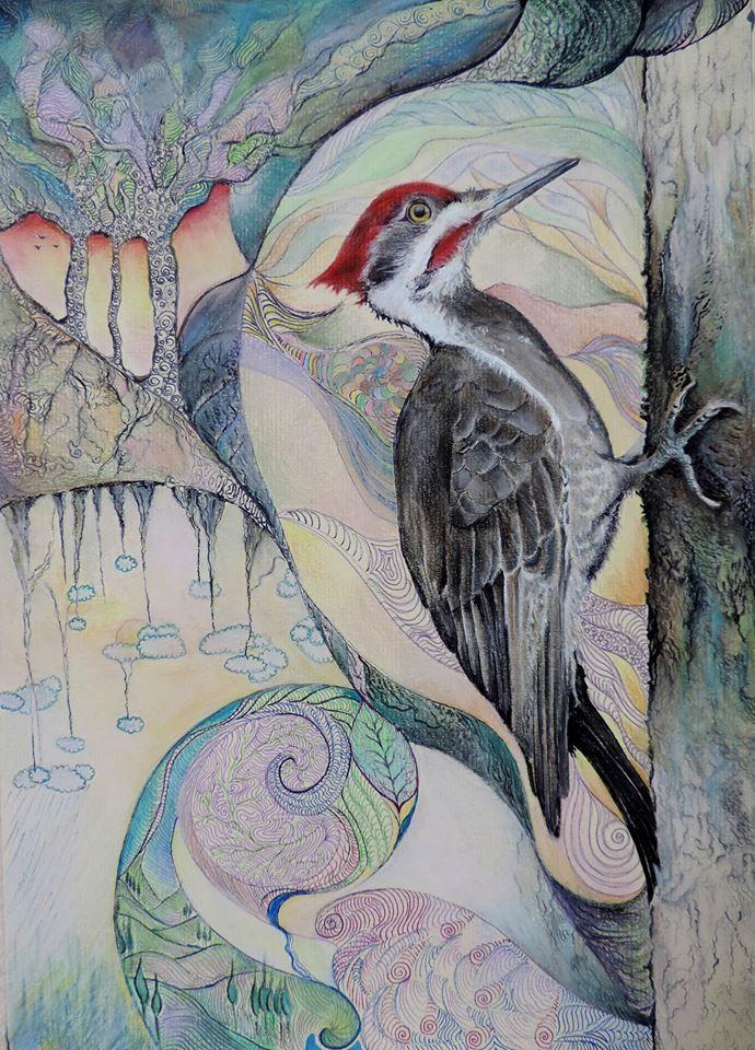 Fairy tale bird Pastel pencils, markers