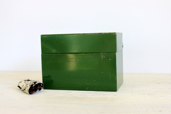 green industrial file box // metal recipe box // 4 by umbrellafant, $9.00