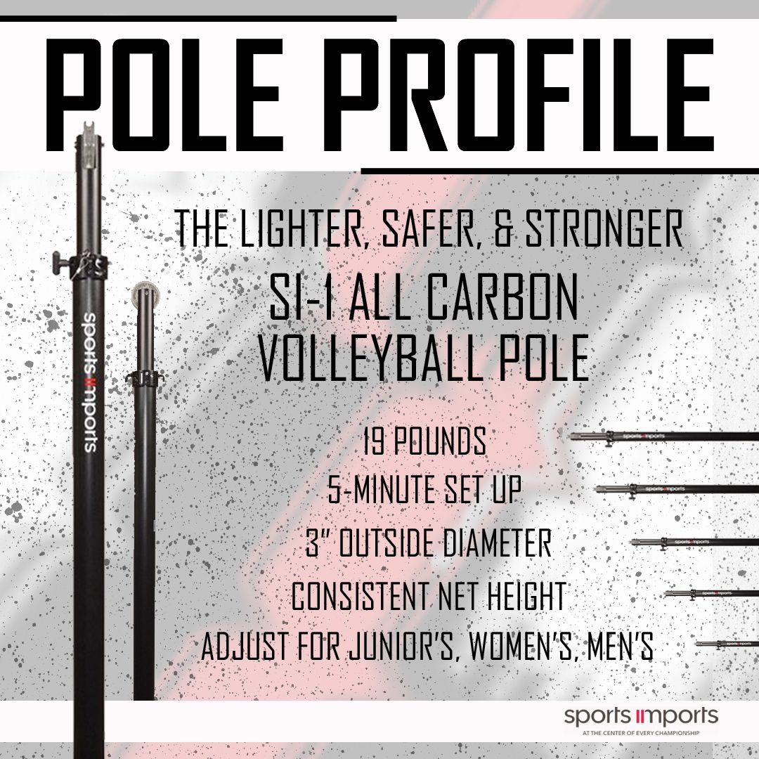 The Si1 Carbon Volleyball Pole Only 19 Pounds Volleyball Net Volleyball Volleyball Equipment