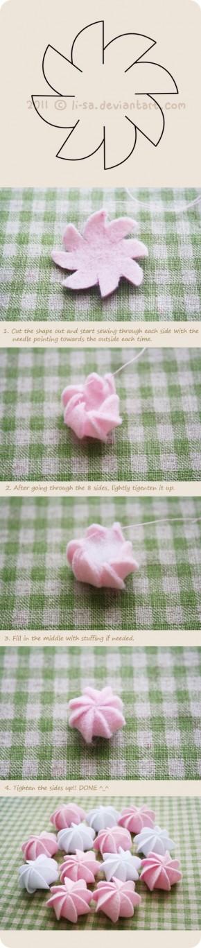 mooie kleine toefjes maken voor op een truitje  of als je een cupcake van stof maakt