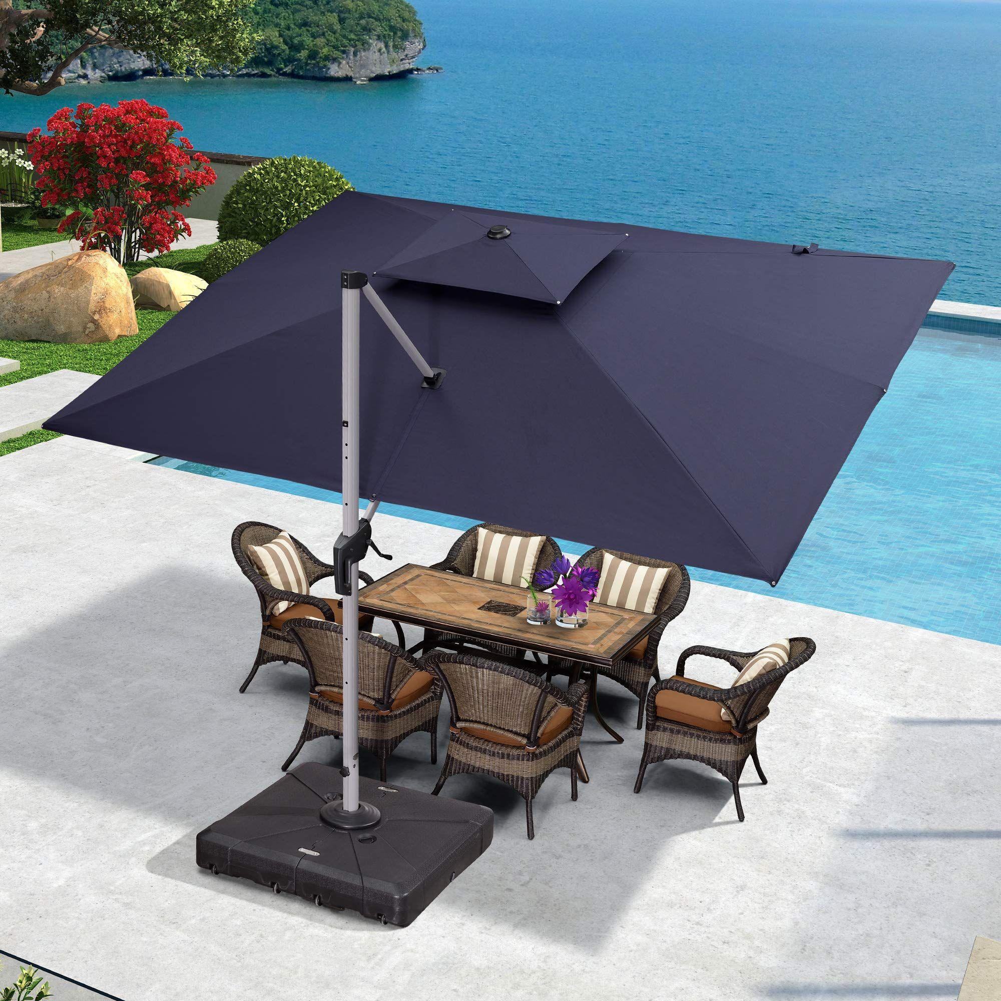 Purple Leaf Rectangle Umbrella Hanging In 2020 Cantilever Patio Umbrella Patio Patio Umbrella