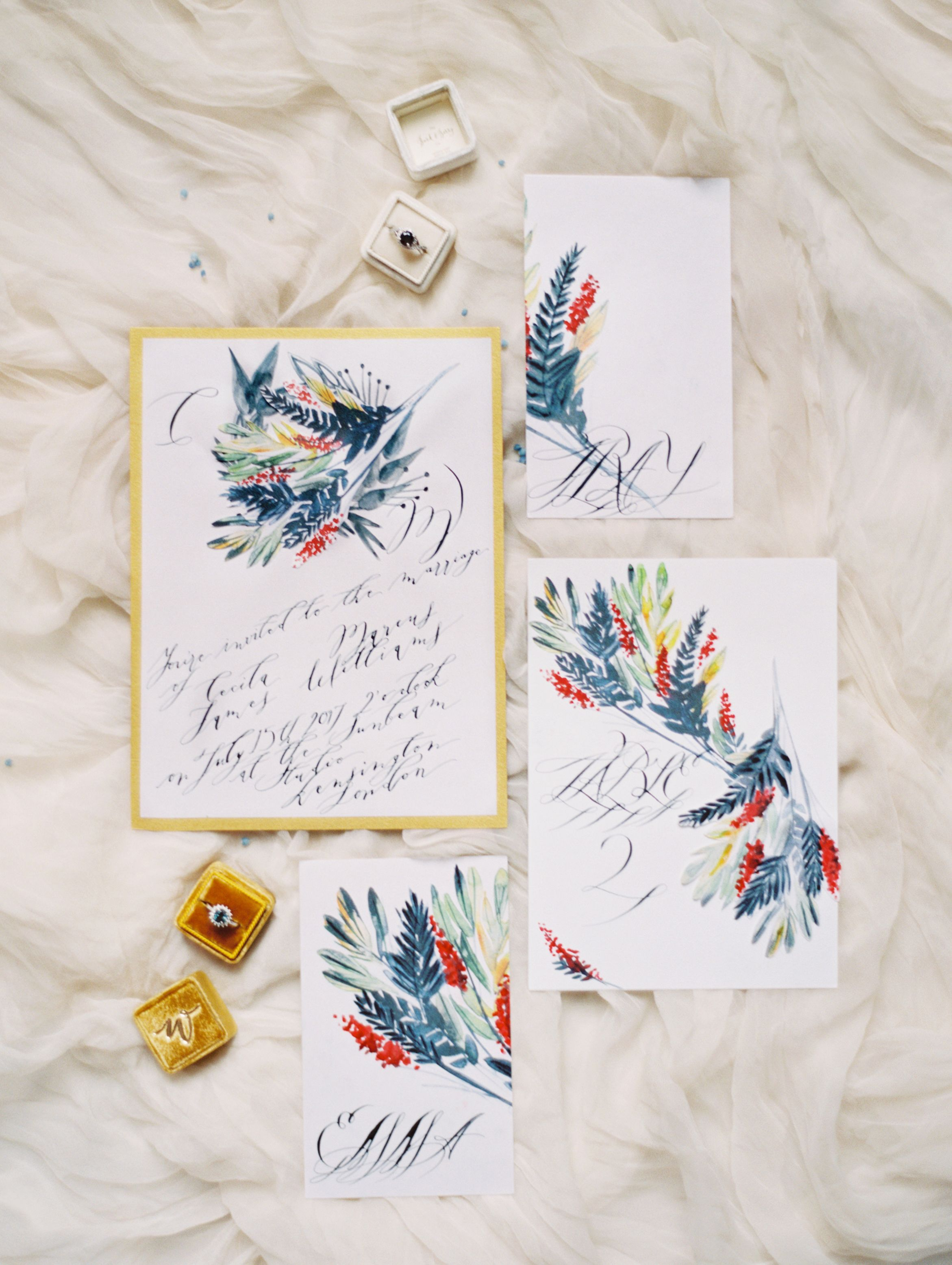Floral wedding invitations with dark leaves, berries and calligraphy ...