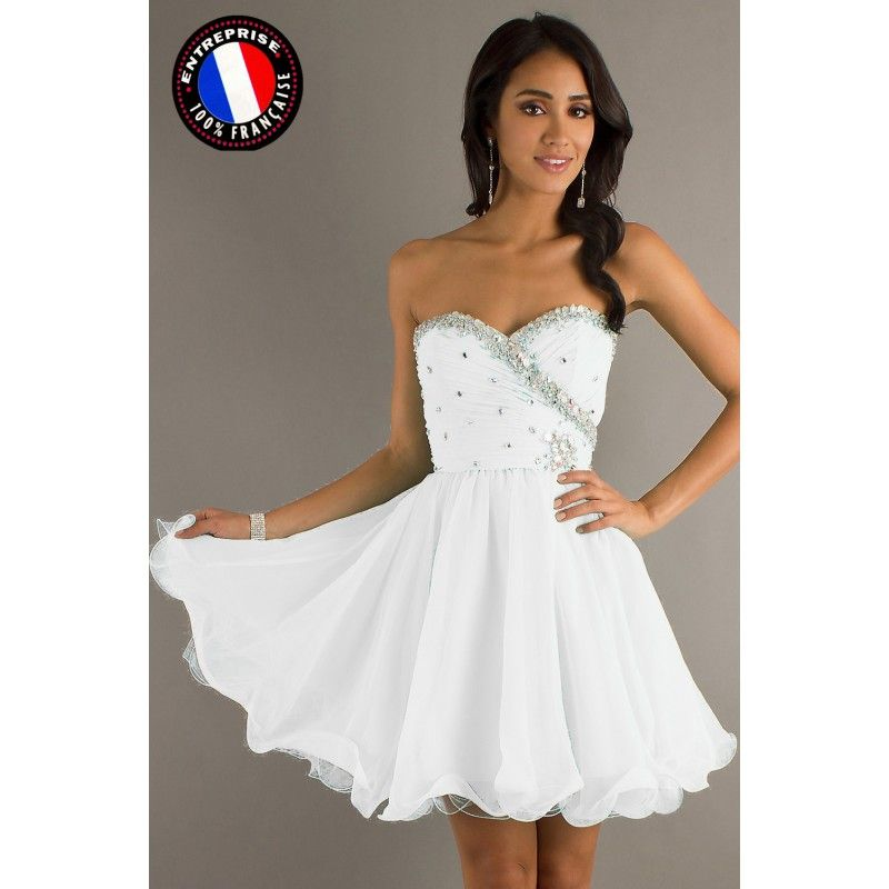 Robe cocktail grise et blanche