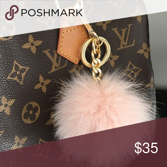 8ead51b260565d Authentic Light Pink MK Purse Charm Cute, like new fur ball poof bag Charm.  Gold hardware and baby pink fur. Super cute! Michael Kors Accessories Key  Card ...