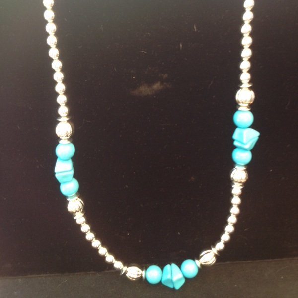 Free Ship Spectacular Lucite And Beaded Necklace Turquoise & Silver