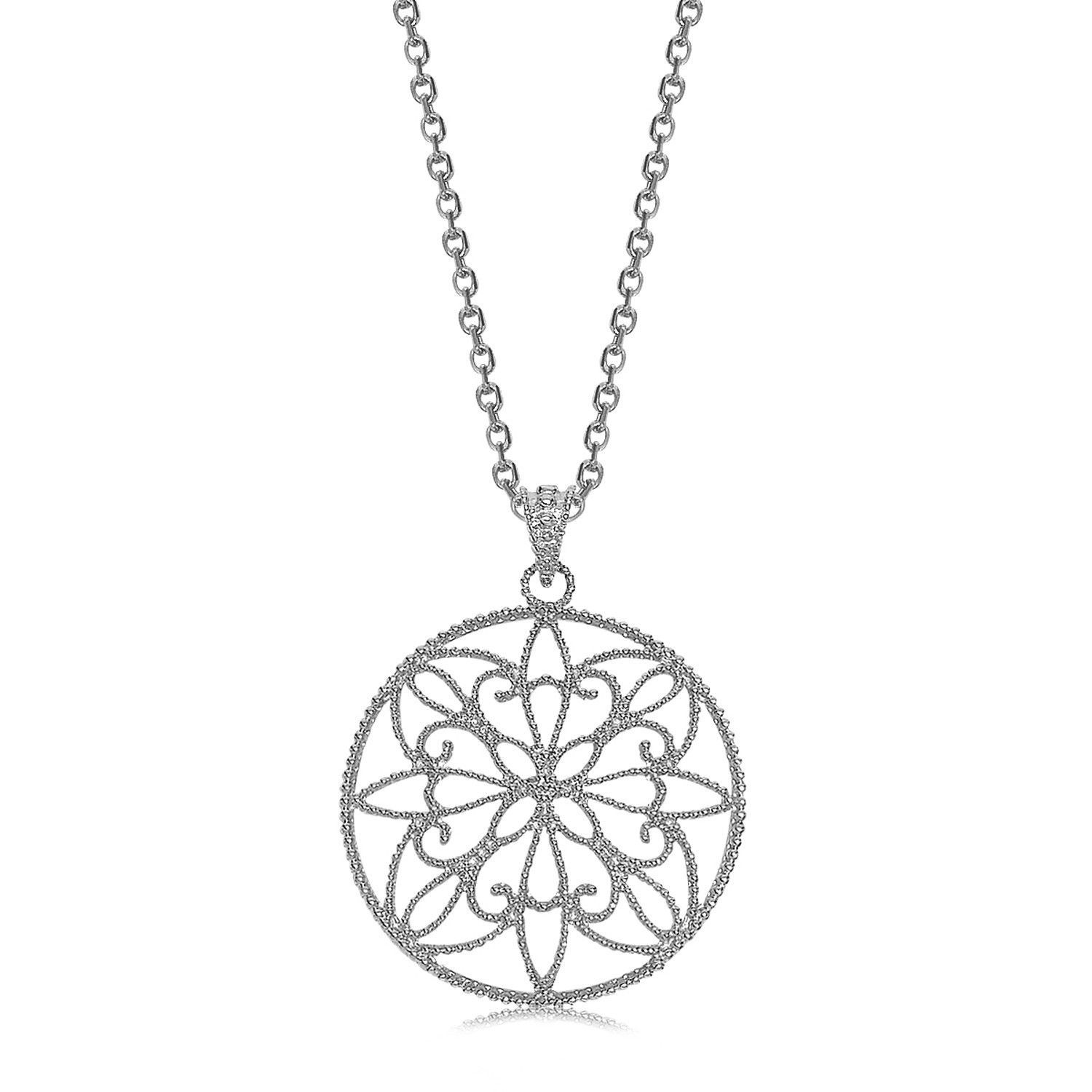 Sterling Silver Rhodium Plated Circle Filigree Pendant