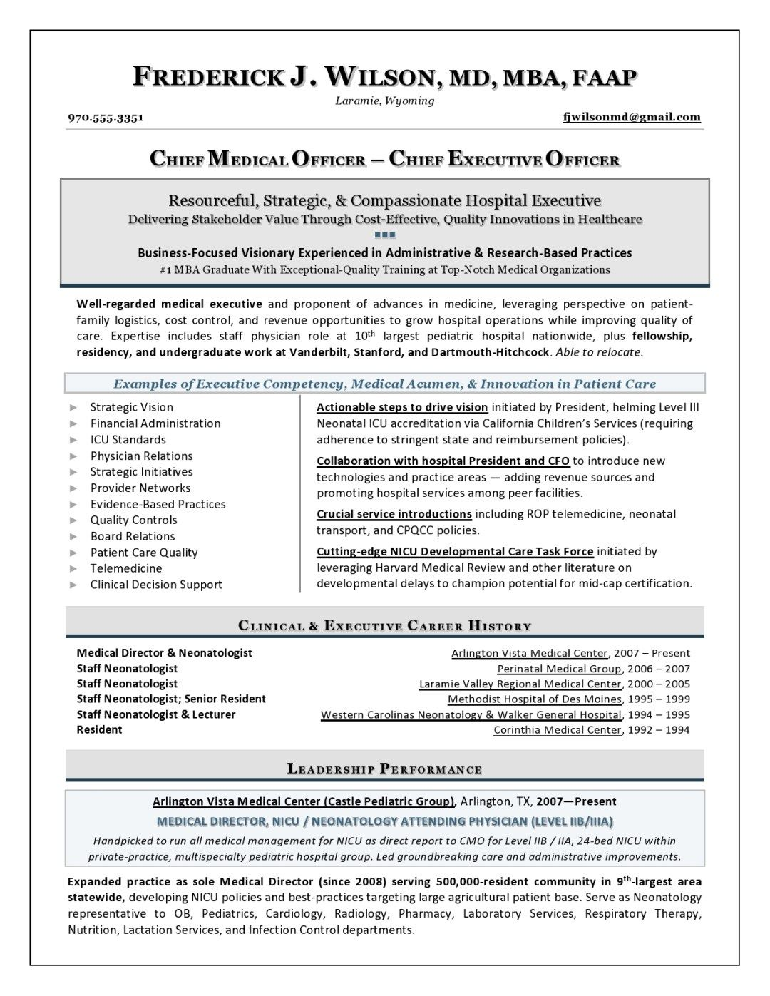Chief Medical Officer Sample Resume Executive Resume Writer For