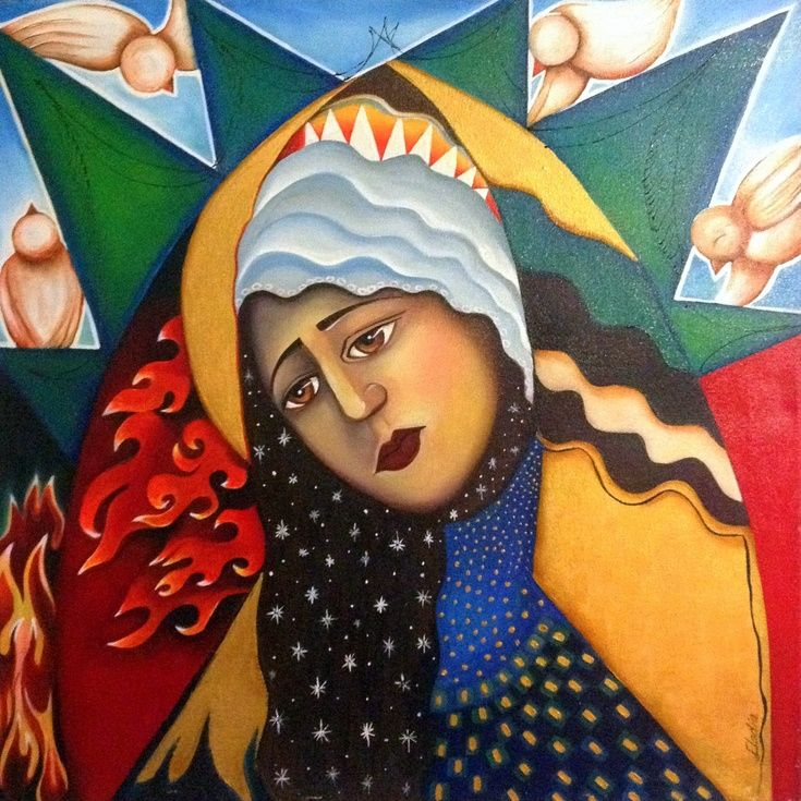 ARTFINDER: Madonna by Eladia Alvarado Mauriz - Inspired by Eastern European Icons. The Madonna is a compilation of all the different madonnas from different Catholic cultures. the Dolorosa of Spain, the L...