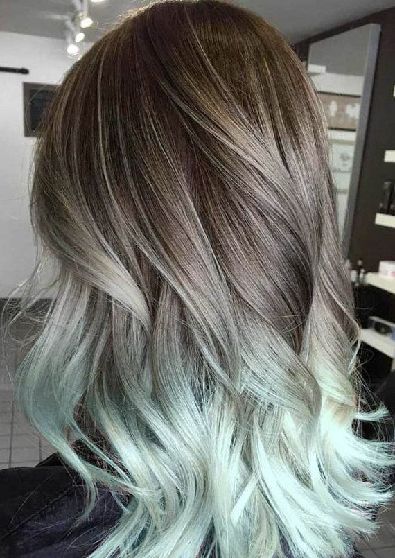 Silver Hair Grey Mint Balayage Ombre Extensions Brown Pastel Clip In Ocean Locks