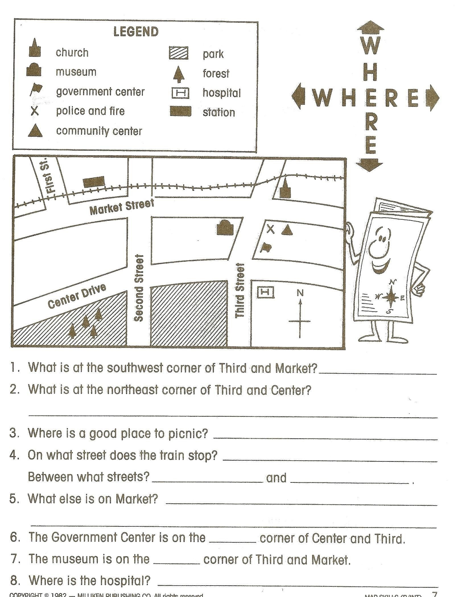 Map Reading Worksheets Grade 1 Best ... | Social studies ...