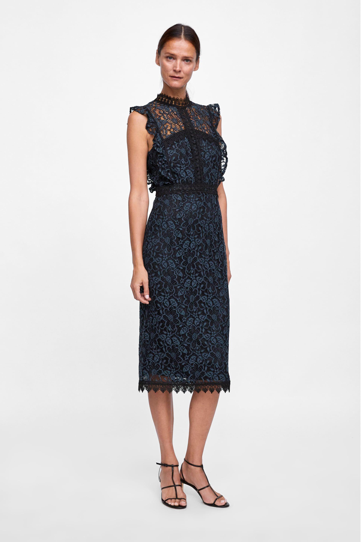 0b43c92a Lace dress in 2019 | Wish list AW | Zara black dress, Lace dress ...
