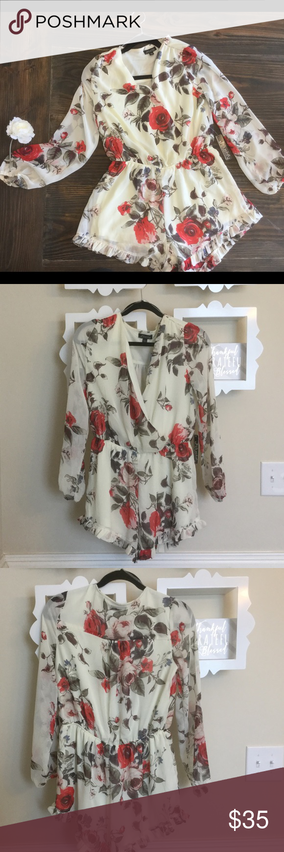 118b1cb26f7b NWT J For Justify floral multi-colored romper Made by J for Justify romper.  Floral - Cream with beautiful red roses. Size L. Sheer long sleeves. V neck.