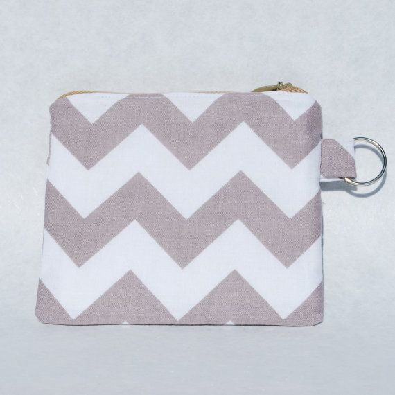 Change Purse Wallet Zipper Fabric Taupe White by mylifeinfabric, $13.00