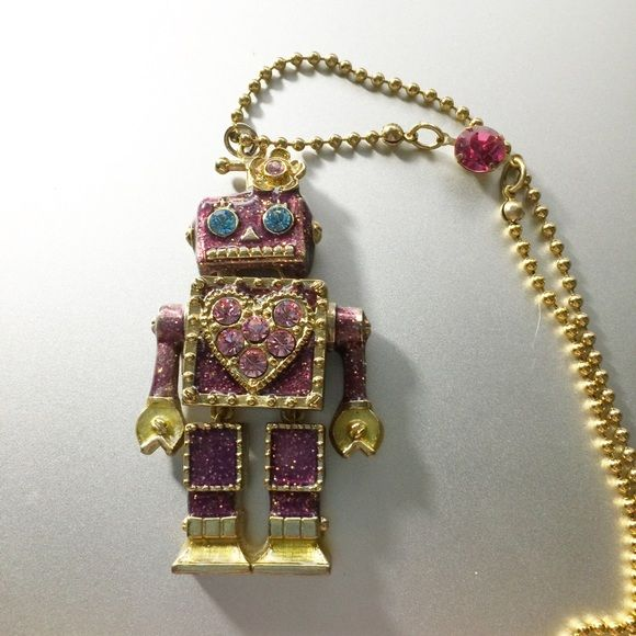 Betsey Johnson Pink Robot Necklace Pink glittery robot necklace that opens up to reveal a heart on a chain! Very long necklace! Betsey Johnson Jewelry Necklaces