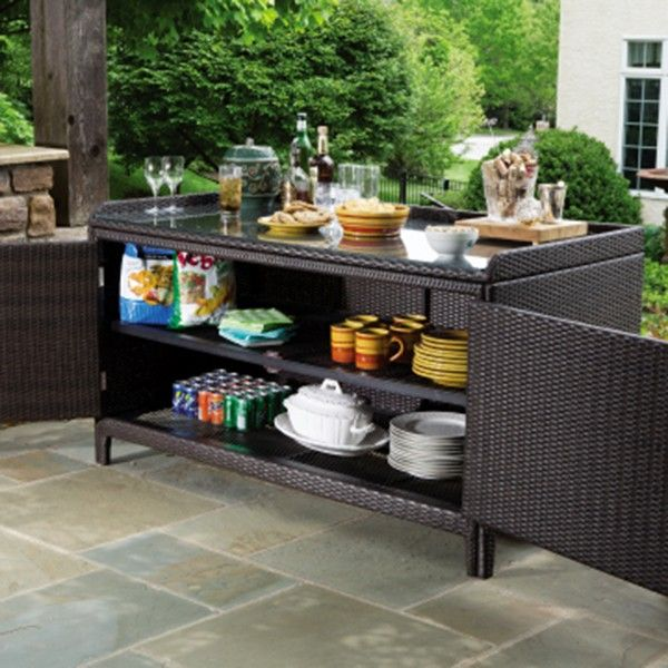 Alfresco Home All Weather Wicker Outdoor Sideboard Console Storage Table