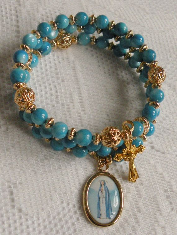 Custom Five Decade Catholic Rosary Bracelet with Your Choice of Mother-of-Pearl Hail Mary Beads and Gold-Plated or Color Saint/Holy Medal