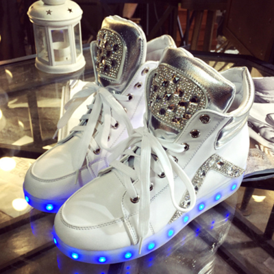 Fashion colorful usb charging luminous sneaker (With