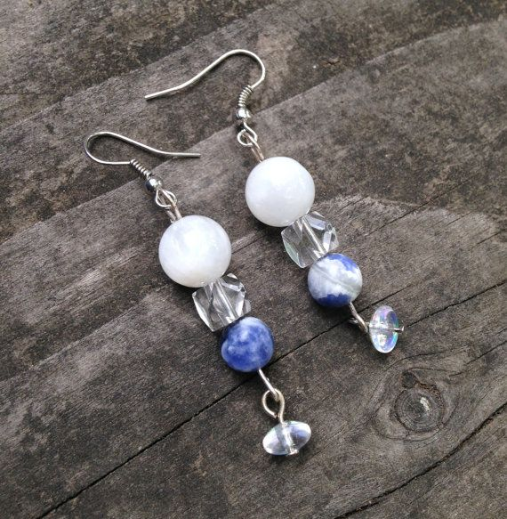 Moonstone Sodalite and Crystal Earrings by TripIntoLight on Etsy, $11.50