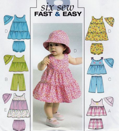 VERY-EASY-SEWING-PATTERN-BABY-TODDLERS-DRESS-TOP-PANTIES-SHORTS-HAT ...