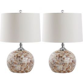 Set Of Two Capiz Shell Mosaic Table Lamps With White Drum Shades Product Set Of 2 Table Lampsconstruction Material Shell An Table Lamp Sets Lamp Lamp Sets
