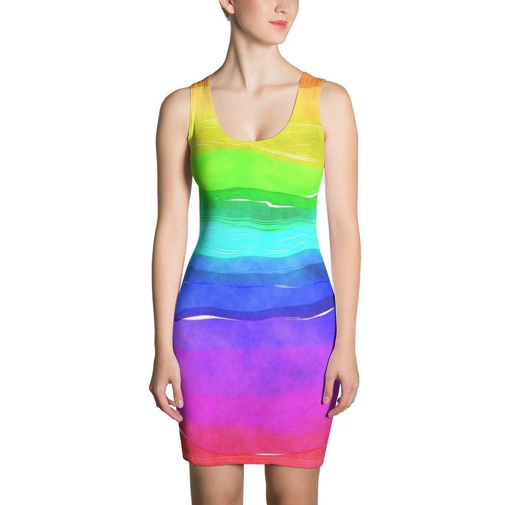Water Color Rainbow Dress Rainbow Dress Trending Outfits Fashion [ 1000 x 1000 Pixel ]