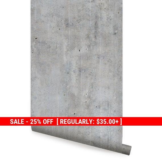 Cement Concrete Peel Stick Fabric Wallpaper Repositionable Etsy Concrete Wallpaper Concrete Concrete Wall