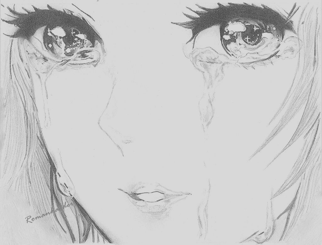Cartoon Girl Drawing Tumblr Picture Crying Woman Sketch Anipapper