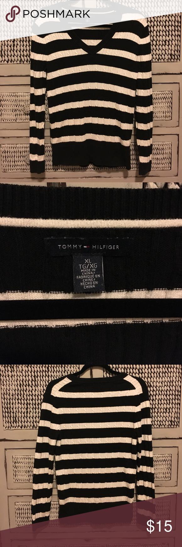 TOMMY HILFIGER SWEATER WOMENS SIZE XL Tommy Hilfiger sweater women's size XL. Black and white striped V neck. Great condition!!! Tommy Hilfiger Sweaters V-Necks
