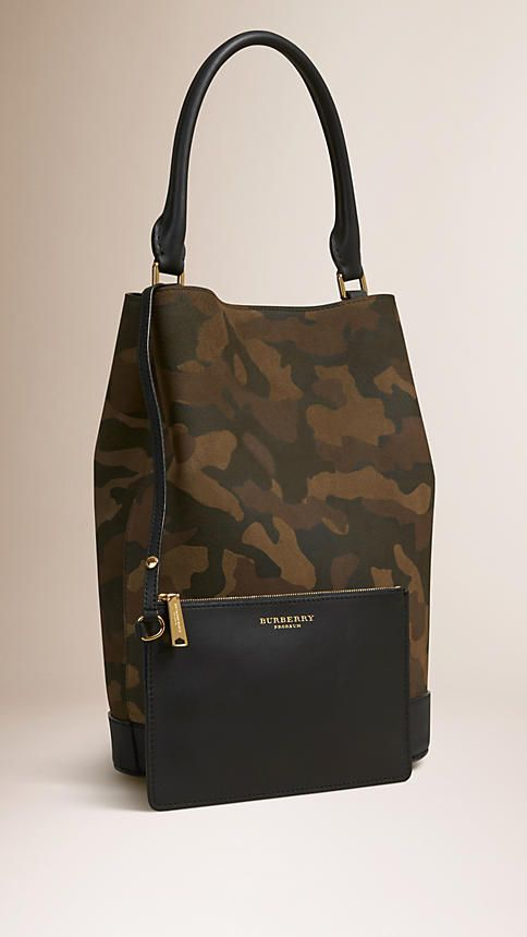 Dark green ochre The Bucket Bag in Camouflage Print Suede - Image 4