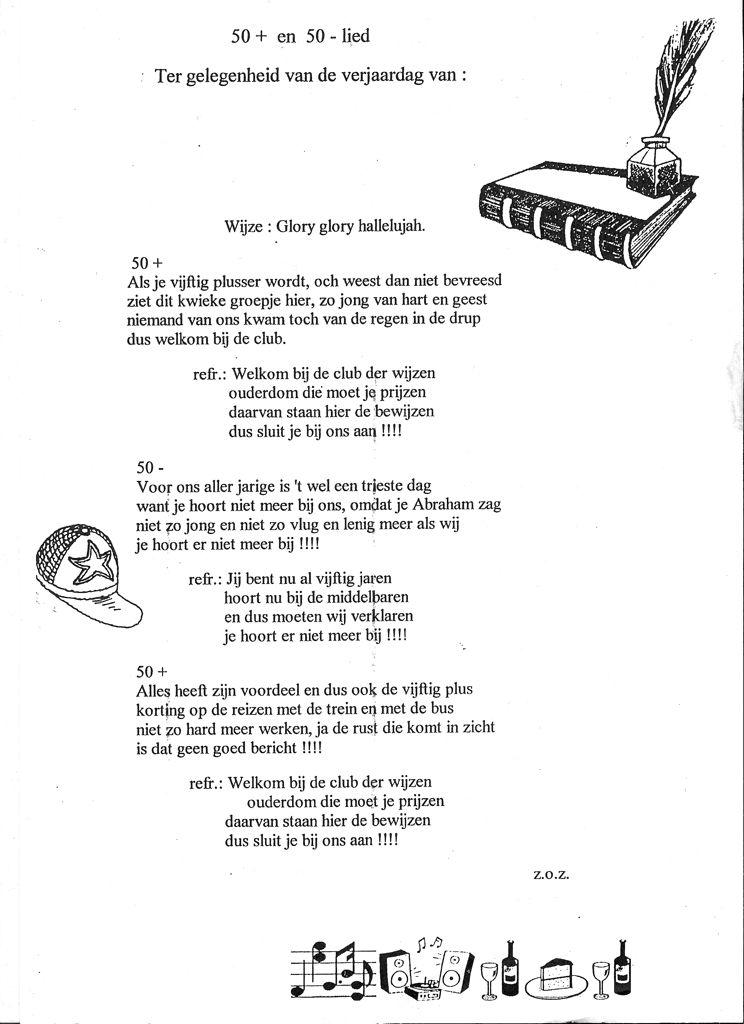 songteksten 50 jaar sarah Deel 1   50+ en 50  lied op de melodie van glory glory halleluja  songteksten 50 jaar sarah