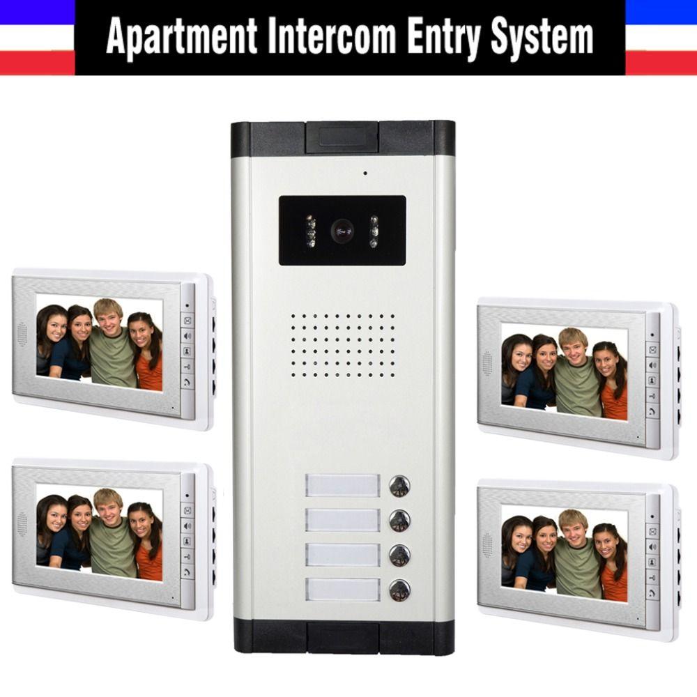 Apartment Intercom System 7 Inch Monitor 4 Unit Apartment Video Door Phone Intercom System Video Doorbell Doorphone Intercom Video Door Phone Doorbell Intercom
