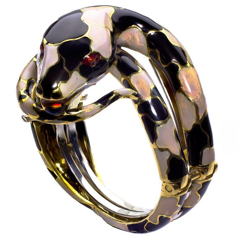 Opalescent Enamel Snake Gold Bangle Bracelet-Italian Estate piece