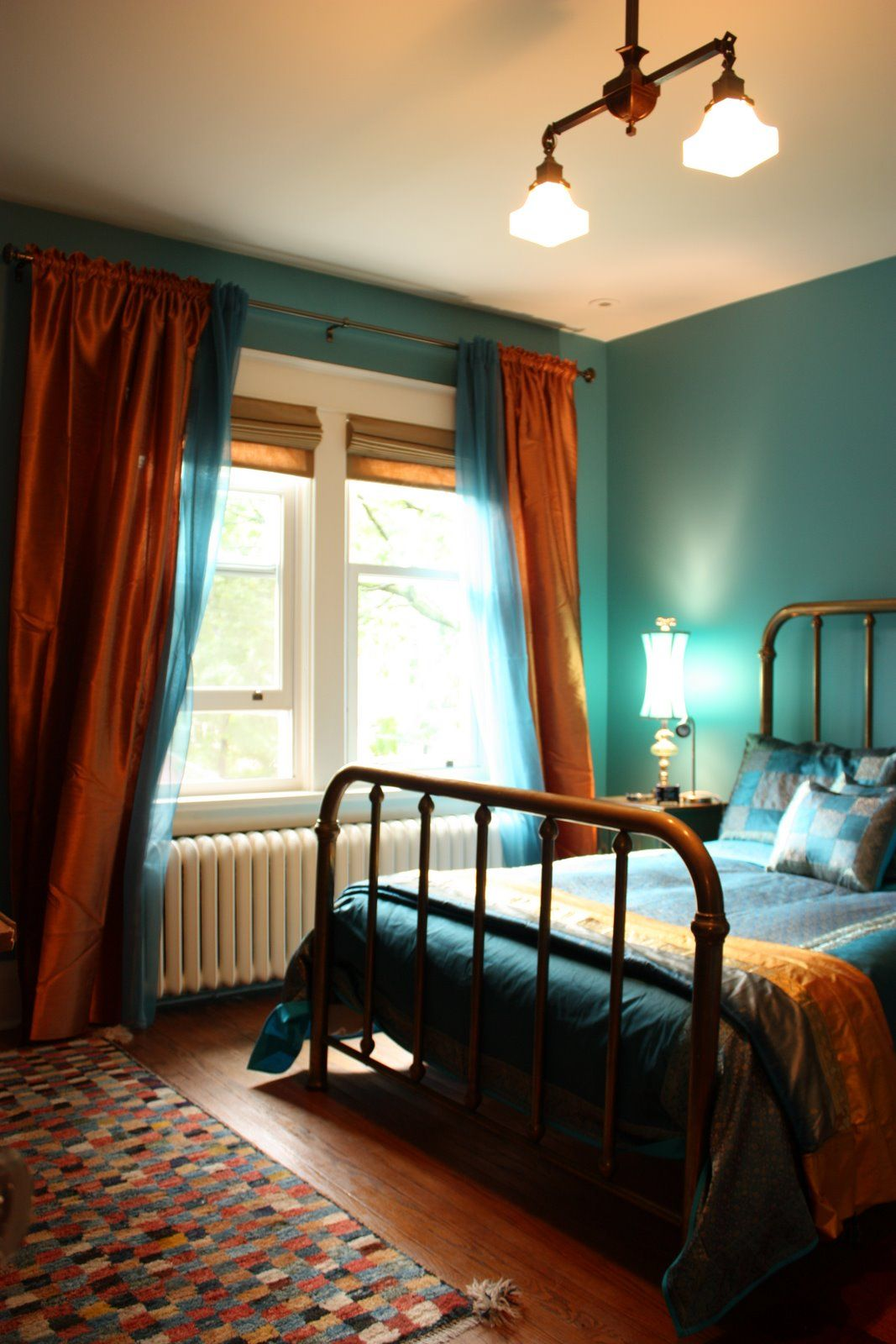 Bedroom Done In Teal And Copper A Mix Of Bohemian Chic And Turn Of The Century Antiques Jane