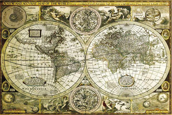 Juliste Maailmankartta Historiallinen Juliste Tila Ja Sisustus