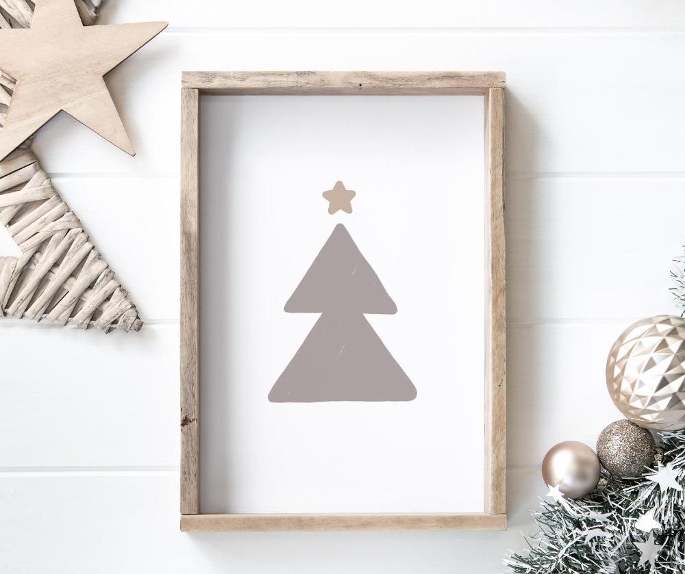 Modern Christmas Tree Printable Wall Art Digital Download Modern Christmas Wall Art Neutral Christmas Decor Printable Xmas Wall Art Printable Wall Art Modern Christmas Tree Neutral Christmas Decor