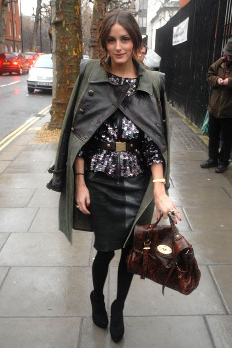 Olivia Palermo autumn-ready in a khaki trench, sequin top, leather pencil skirt & w/ a Mulberry 'Alexa' bag #StreetStyle