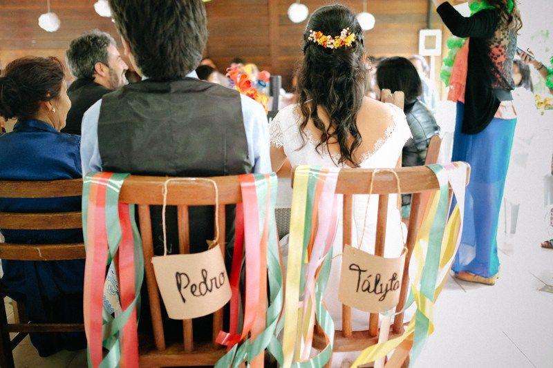 DIY fitas cadeiras dos noivos
