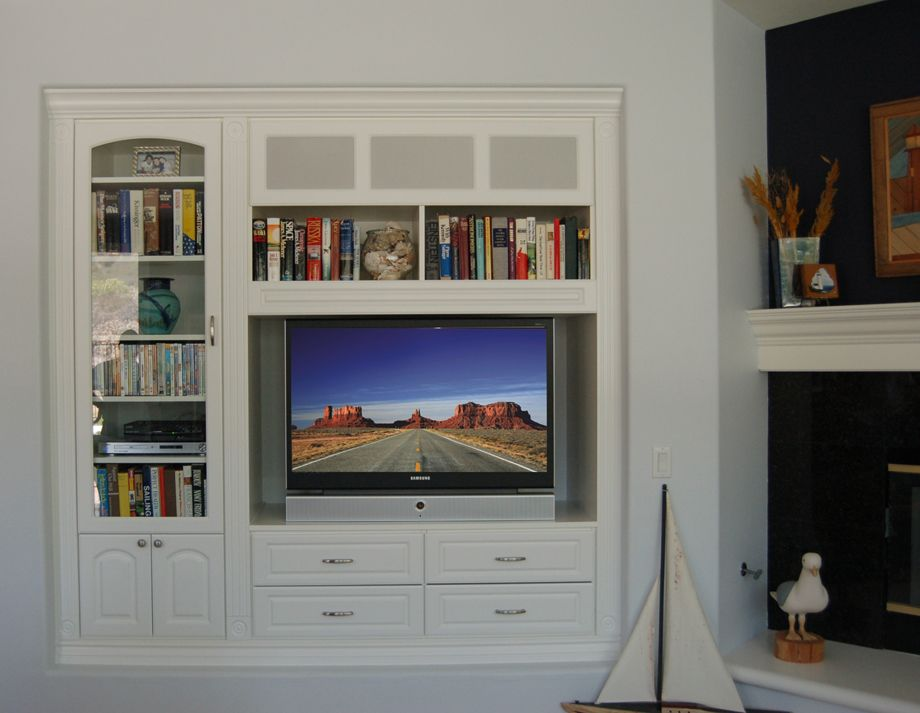 Niche Media Built In With Corner Fireplace Traditional White - Built in media center designs