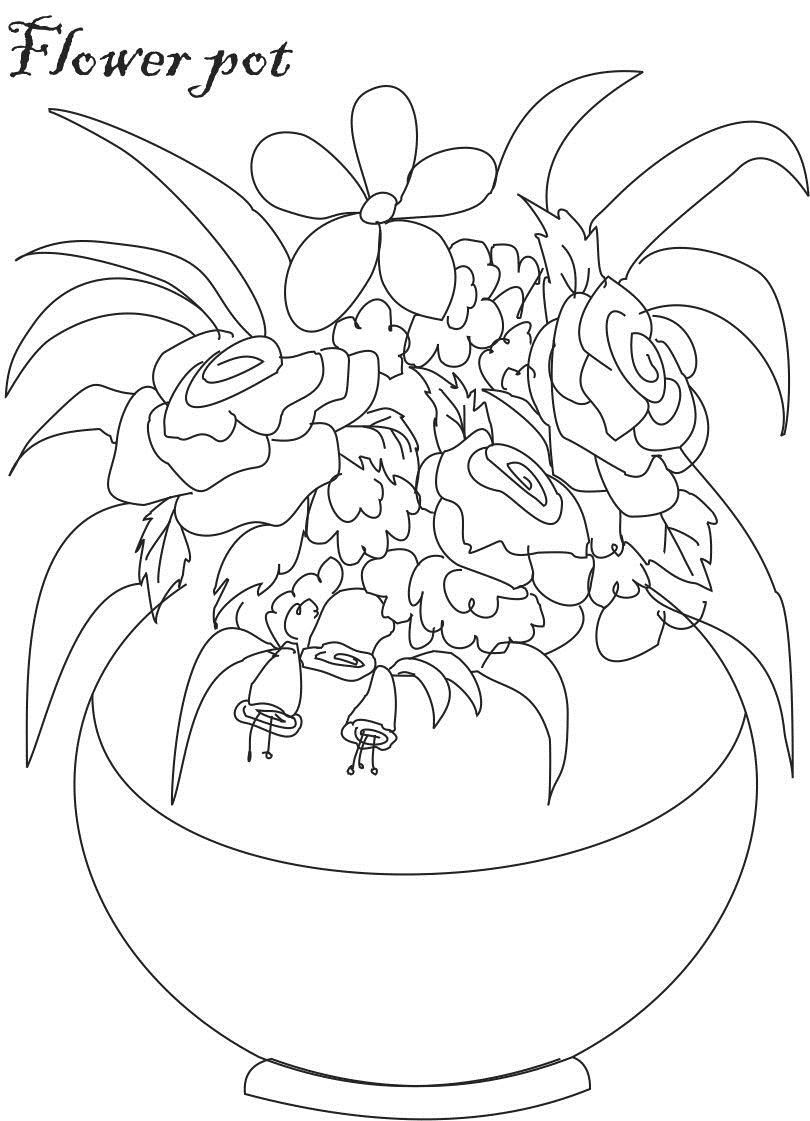flower Page Printable Coloring Sheets | Flower pot coloring ...