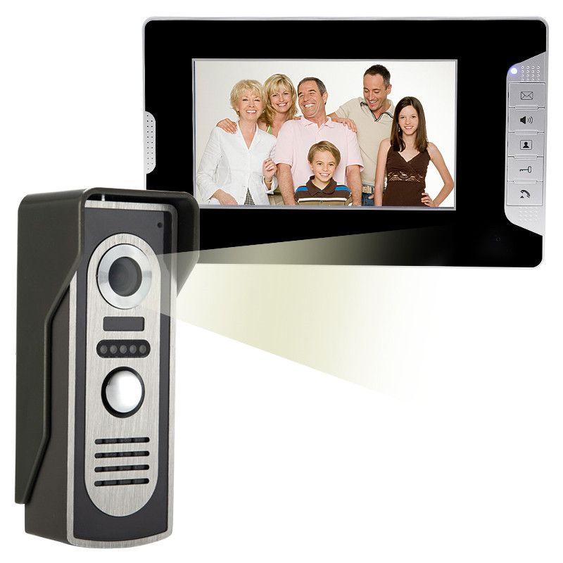 Nuovo marca wired 7 pollice a colori video telefono del portello citofono sistema 1 monitor + 1 telecamera a colori citofono campanello per la casa Libera libero