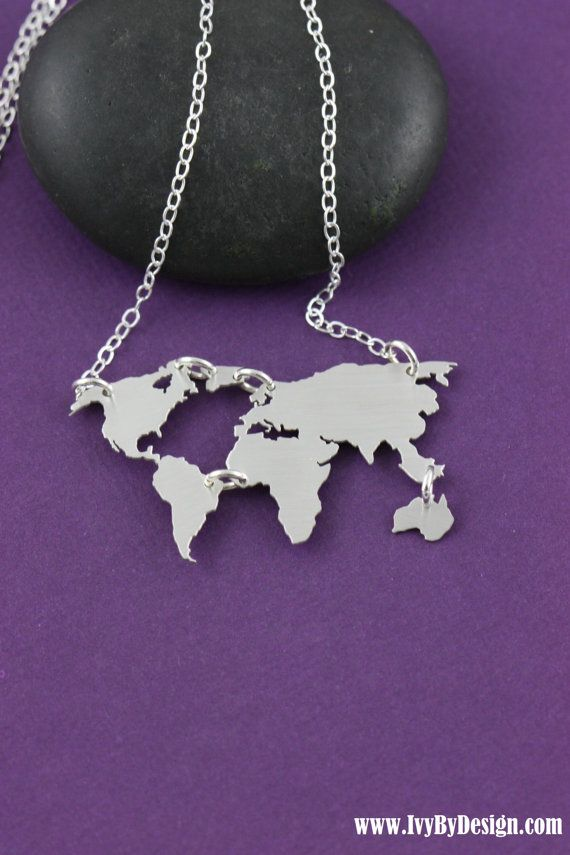 World map necklace earth day gift graduation globe necklace world map sterling silver pendant necklace by ivybydesign on etsy this necklace is absolutely gorgeous gumiabroncs Gallery