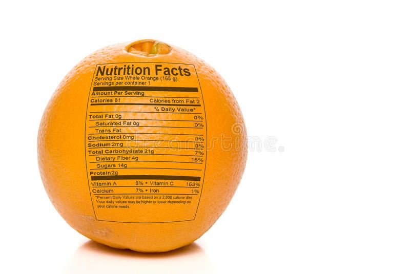Orange Nutrition Facts. Nutrition Facts printed on an delicious orange ,