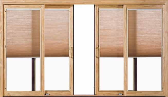 Pella four panel wood sliding patio doors with shades between-the ...