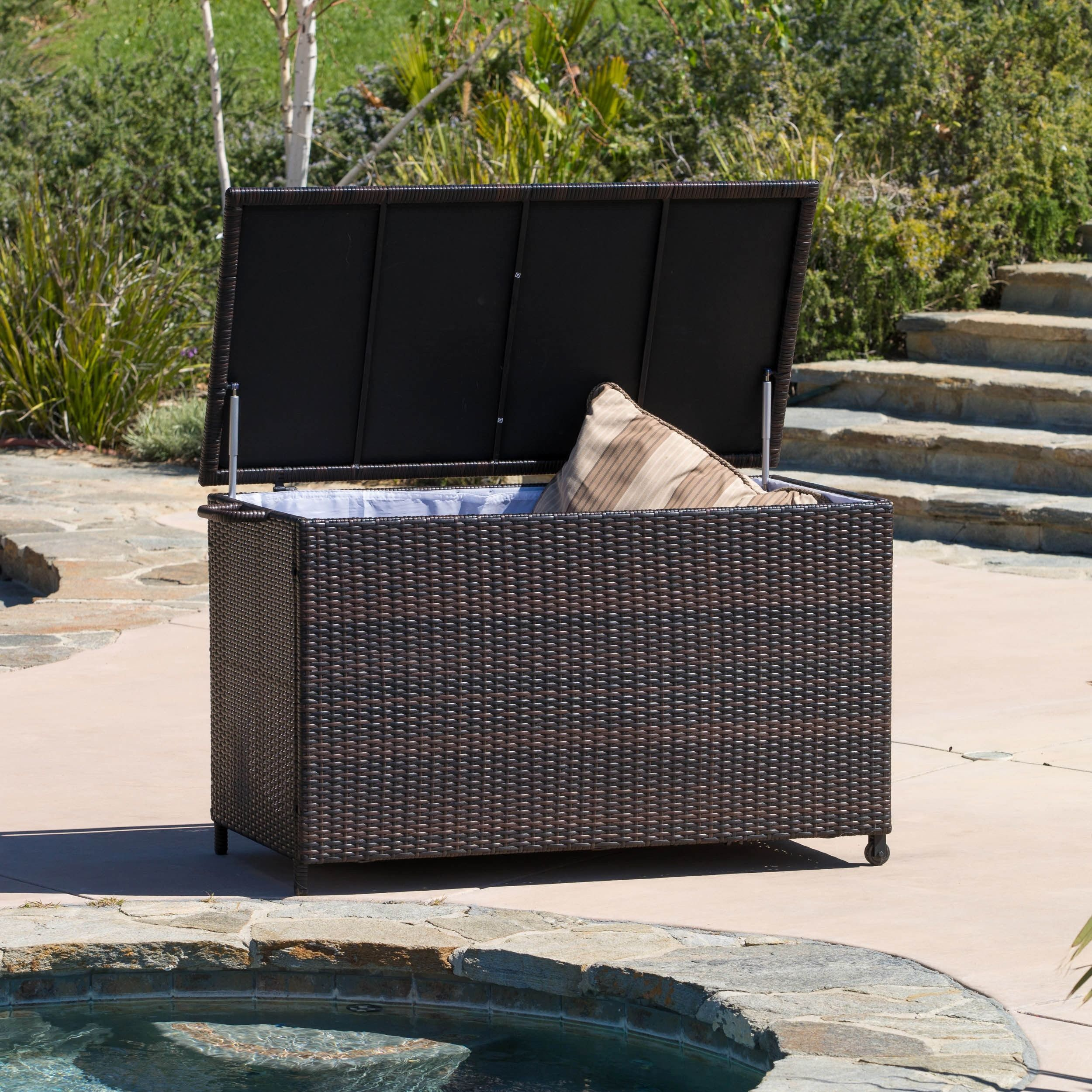 Store Your Patio Furniture Pillows, Pool Supplies, Or Gardening Tools In  This Handy Wicker Cushion Storage Cabinet. Featuring A Sturdy Aluminum  Frame, ...