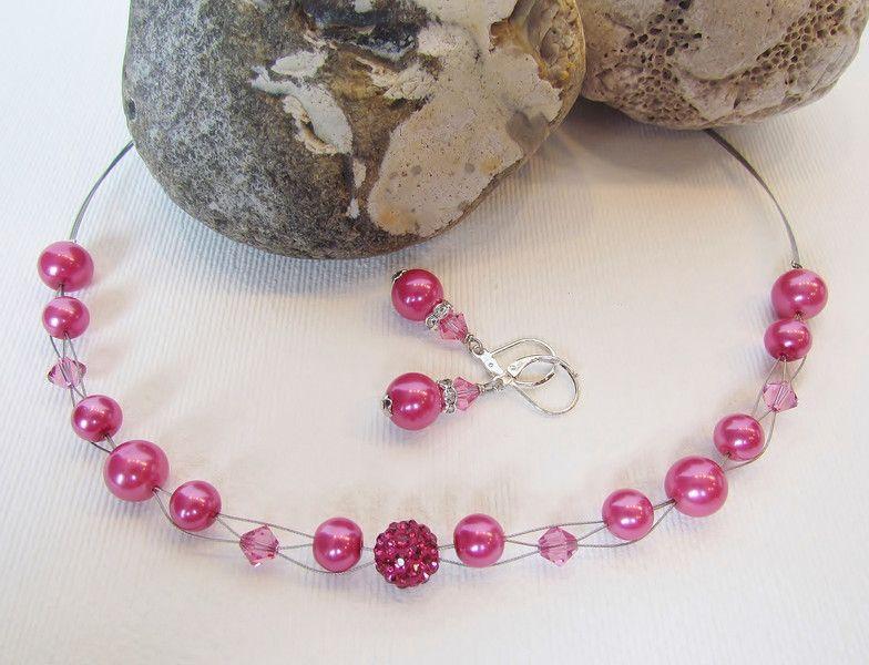 Colliers - Kette und Ohrringe in Pink mit Shamballa - ein Designerstück von luluchic bei DaWanda