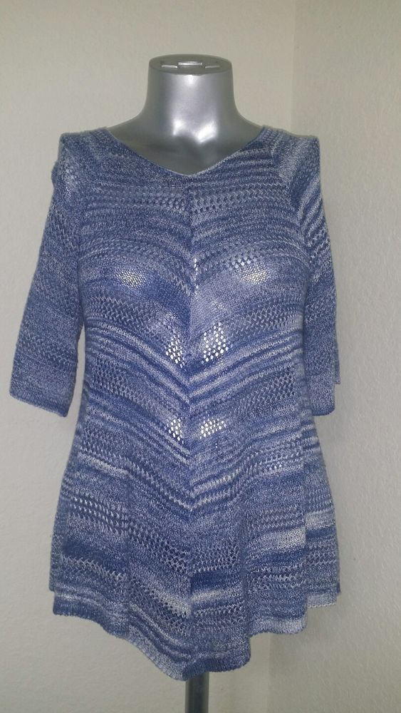 Faded Glory Open Weave Knit Top Great Condition Size Small Blue Short Sleeve  | eBay