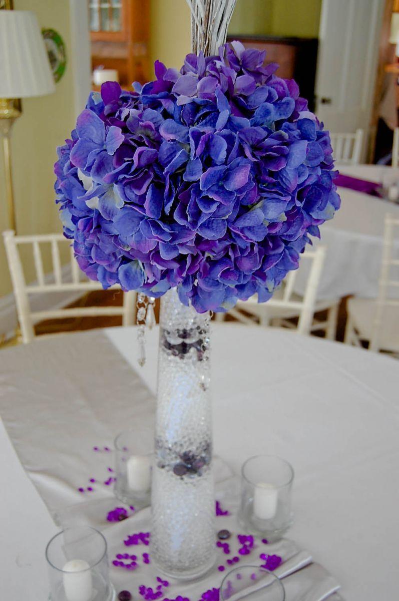 Purple Centerpieces Hydrangea Reception Decoration in
