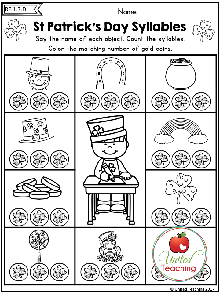St Patrick's Day 1st Grade No Prep Language Arts Worksheets