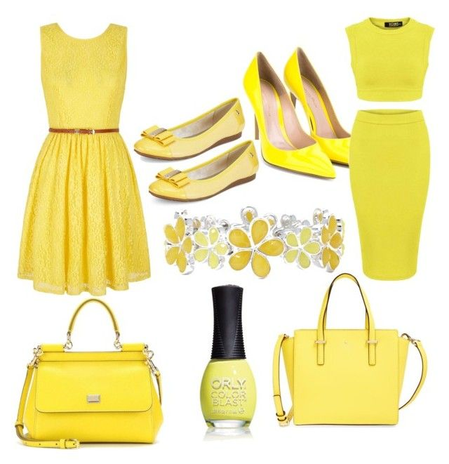 """""""yellow"""" by ebsavannah on Polyvore featuring Yumi, Kate Spade, Gianvito Rossi, Anne Klein, Liz Claiborne, Dolce&Gabbana, ORLY, women's clothing, women and female"""
