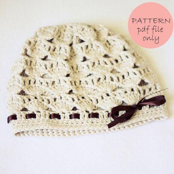 Instant download - Crochet PATTERN (pdf file) - Shell Motif Hat ...